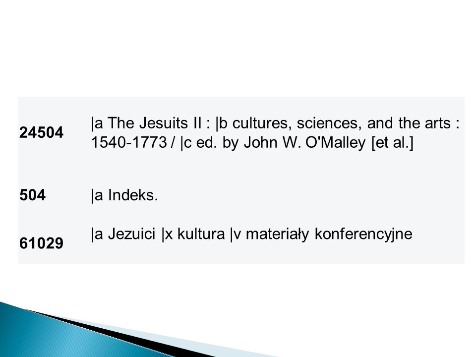 24504 |a The Jesuits II : |b cultures, sciences, and the arts : 1540-1773 / |c ed. by John W. O Malley [et al.]